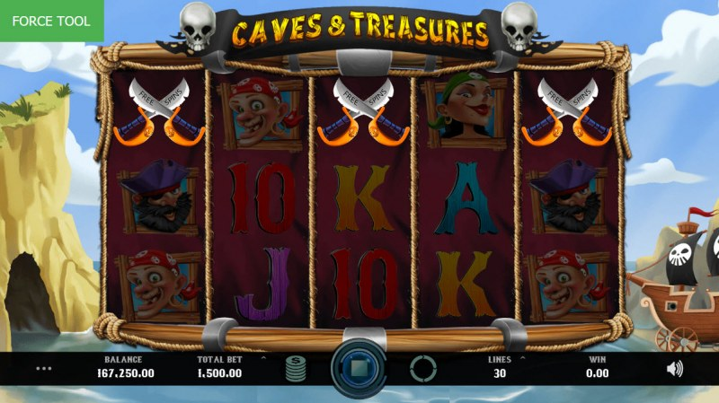 Caves & Treasures :: Scatter symbols triggers the free spins feature