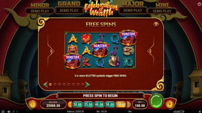 Celebration of Wealth :: Free Spins Rules