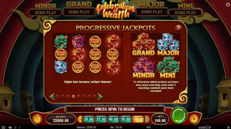 Celebration of Wealth :: Progressive Jackpots Feature