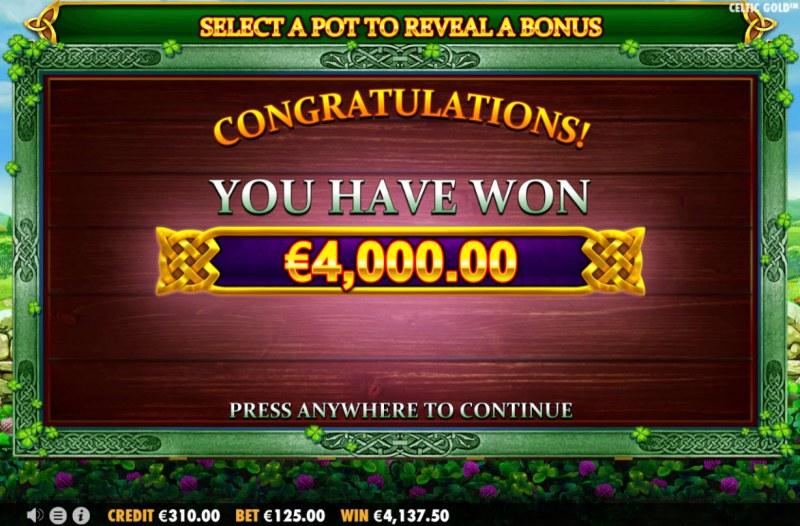 Celtic Gold :: Total bonus payout