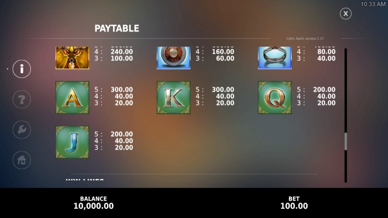 Celtic Spirit Deluxe :: Paytable - Low Value Symbols