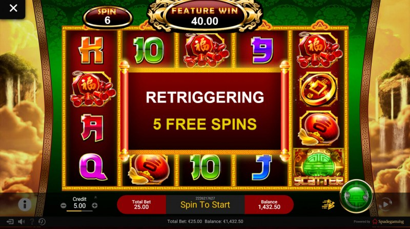 Chai Shen 888 :: Landing two scatter symbols retriggers 5 additional free spins