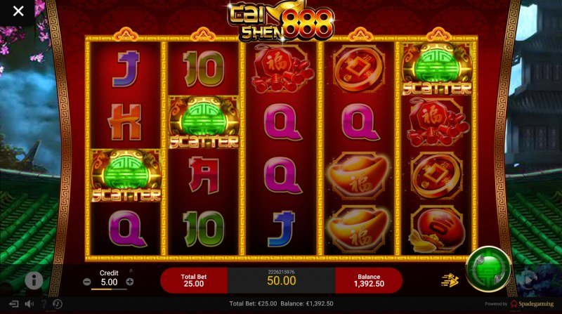 Chai Shen 888 :: Scatter symbols triggers the free spins feature