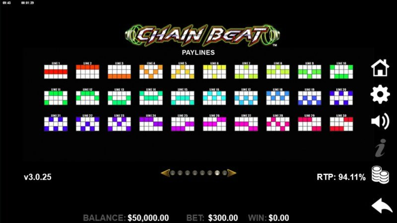 Chain Beat :: Paylines 1-30