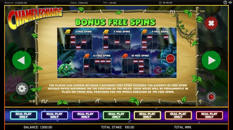 Chameleonaire :: Free Spins Rules