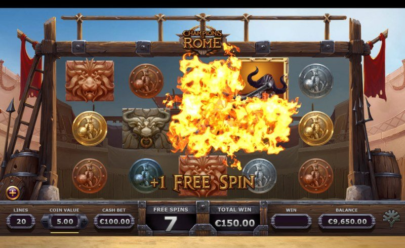 Champions of Rome :: Hitting the beast will add 1 free spin