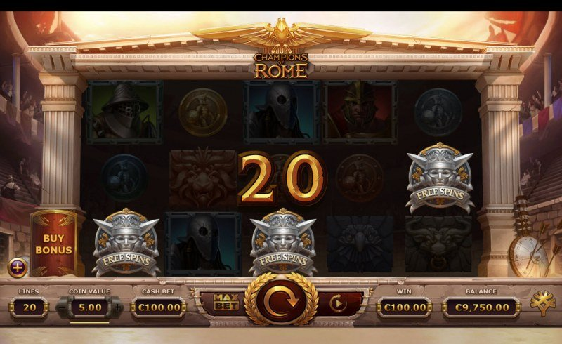 Champions of Rome :: Scatter symbols triggers the free spins feature