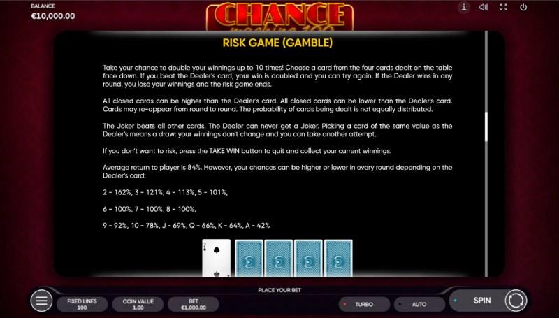 Chance Machine 100 :: Gamble feature