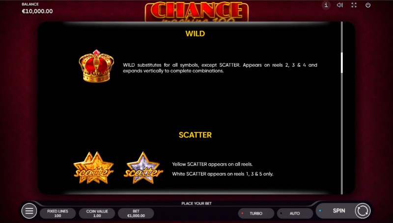Chance Machine 100 :: Wild and Scatter Rules