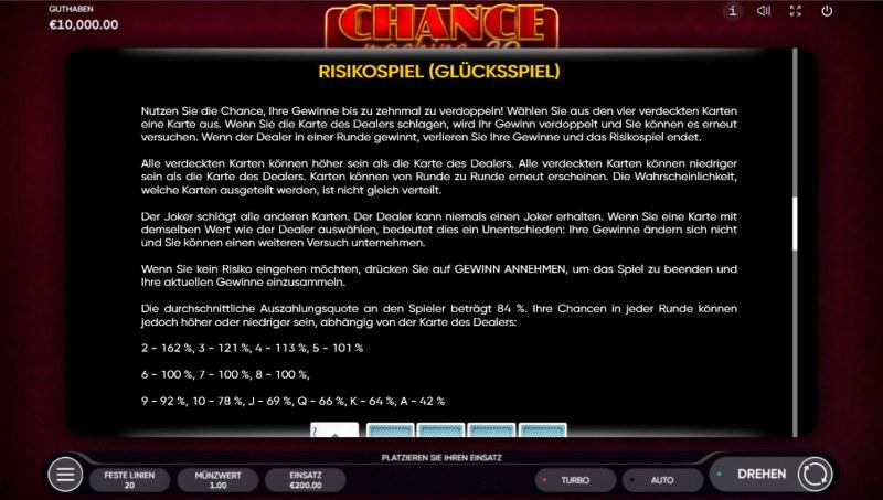 Chance Machine 20 :: Gamble feature