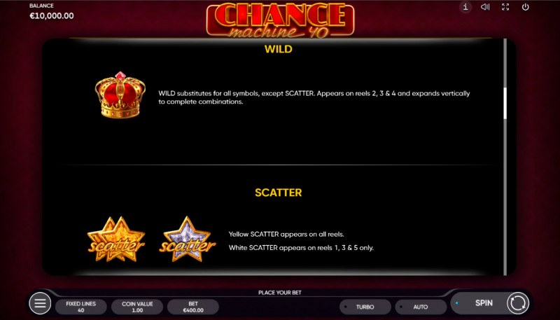 Chance Machine 40 :: Wild and Scatter Rules