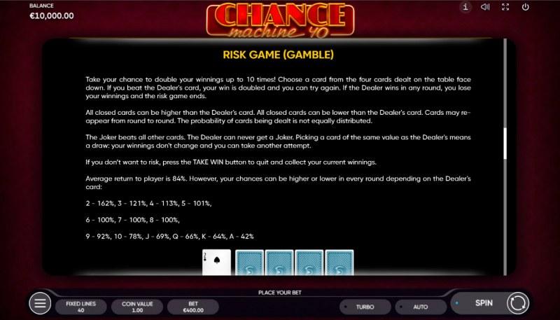 Chance Machine 40 :: Gamble feature
