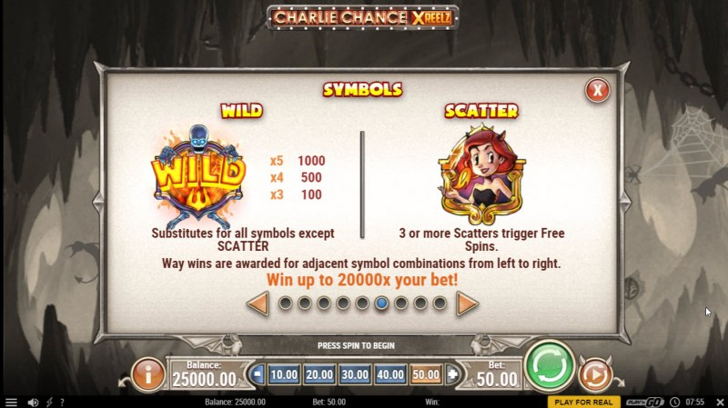 Charlie Chance Xreelz :: Wild and Scatter Rules