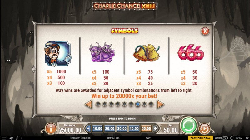 Charlie Chance Xreelz :: Paytable - High Value Symbols