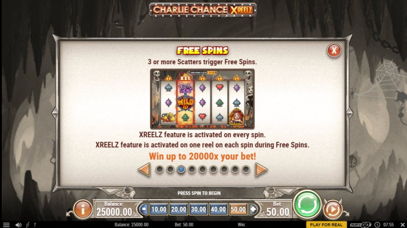 Charlie Chance Xreelz :: Free Spin Feature Rules