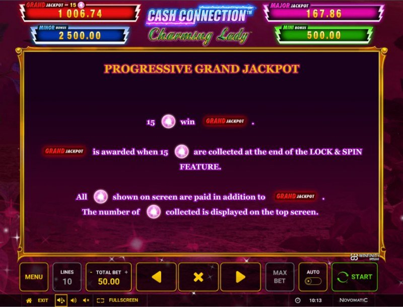 Charming Lady Cash Connection :: Jackpot Rules