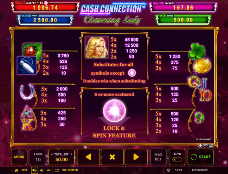Charming Lady Cash Connection :: Paytable