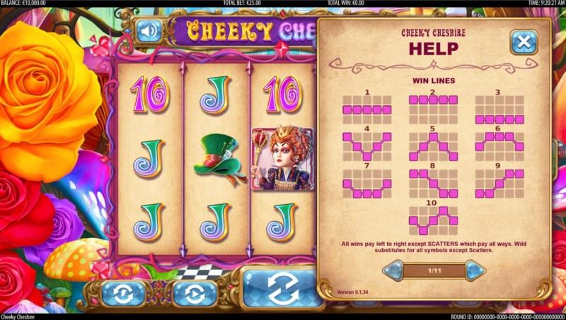 Cheeky Cheshire :: Paylines 1-10