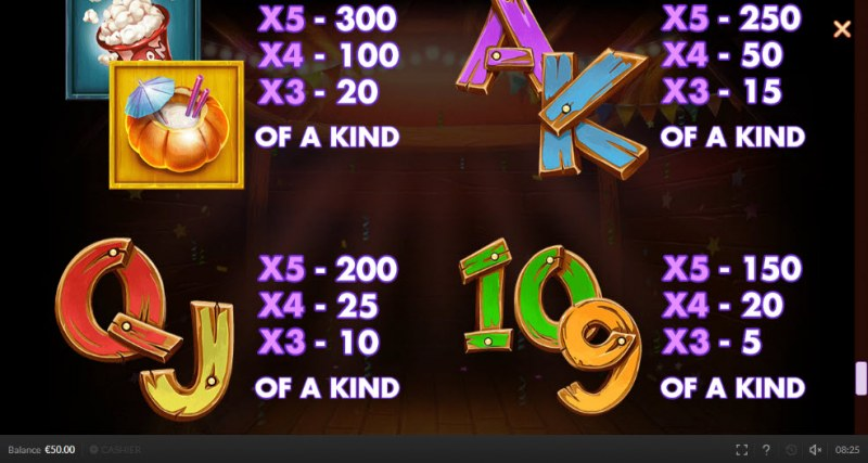 Chicken Fiesta :: Paytable - Low Value Symbols