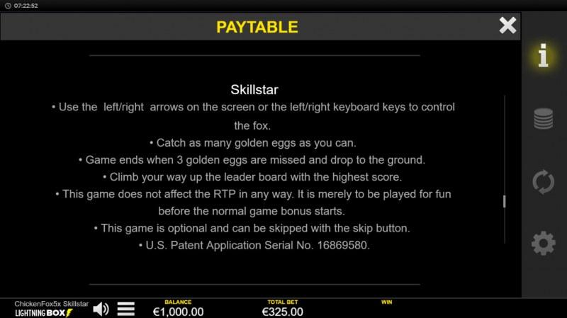 Chicken Fox 5x Skillstar :: General Game Rules