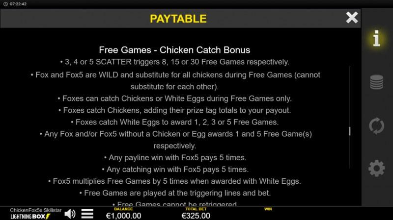 Chicken Fox 5x Skillstar :: Free Game Rules