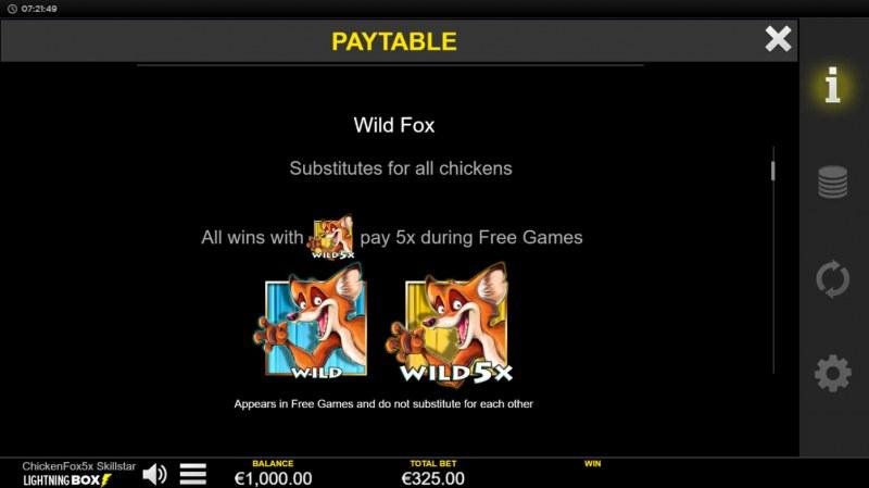 Chicken Fox 5x Skillstar :: Wild Symbol Rules