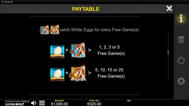 Chicken Fox 5x Skillstar :: Paytable