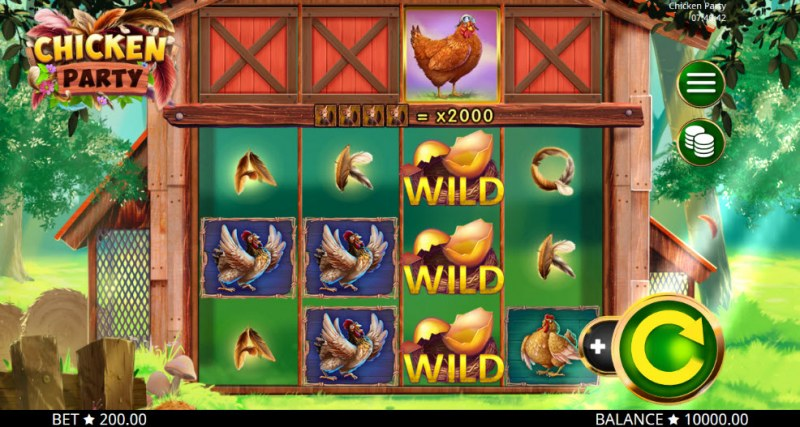 Play slots at Pokie Place: Pokie Place featuring the Video Slots Chicken Party with a maximum payout of $400,000