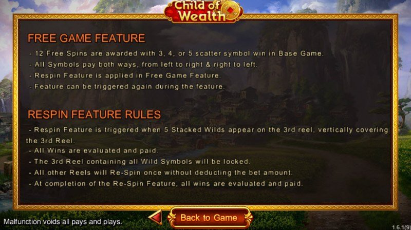 Child of Wealth :: Free Spins Rules