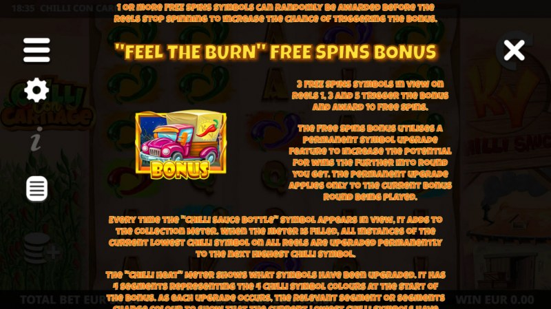 Chilli Con Carnage :: Free Spin Feature Rules
