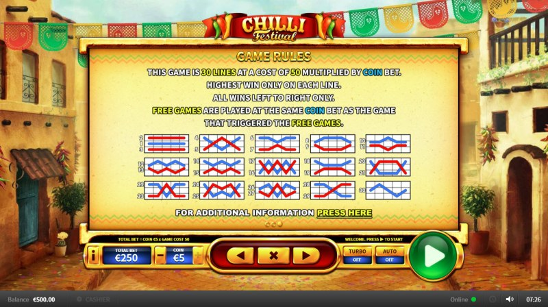 Chilli Festival :: General Game Rules