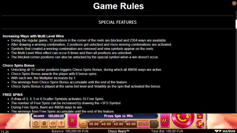 Choco Reels :: Feature Rules