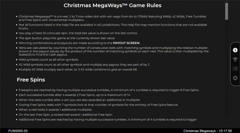 Christmas Megaways :: General Game Rules