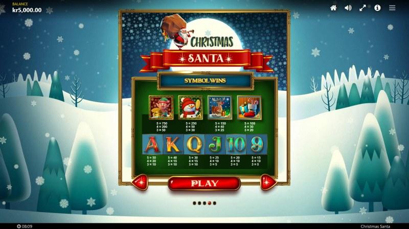 Christmas Santa :: Paytable