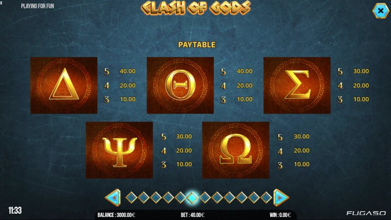 Clash of Gods :: Paytable - Low Value Symbols