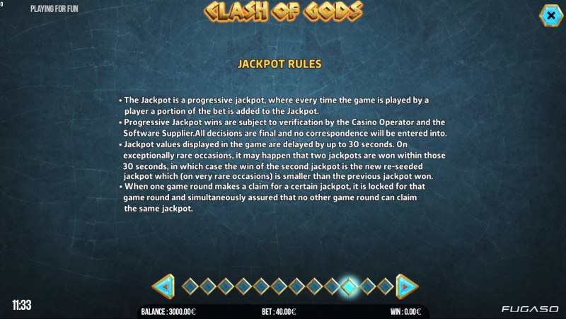 Clash of Gods :: Jackpot Rules