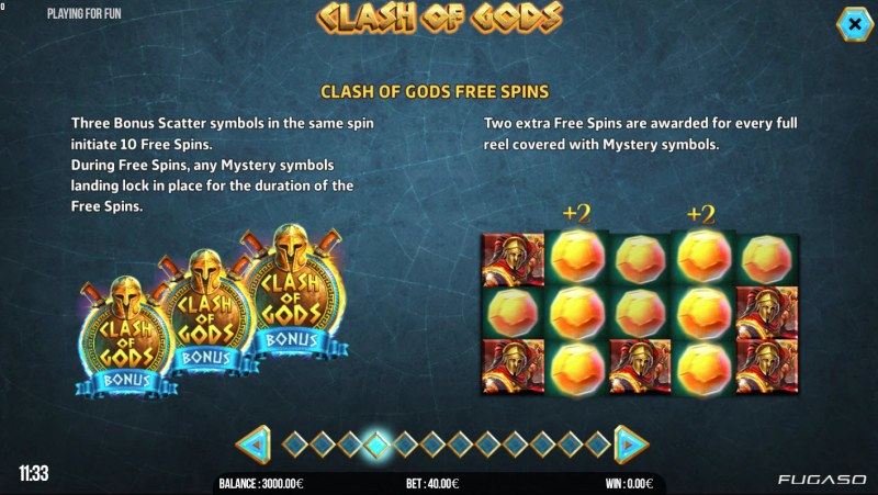 Clash of Gods :: Free Spins Rules