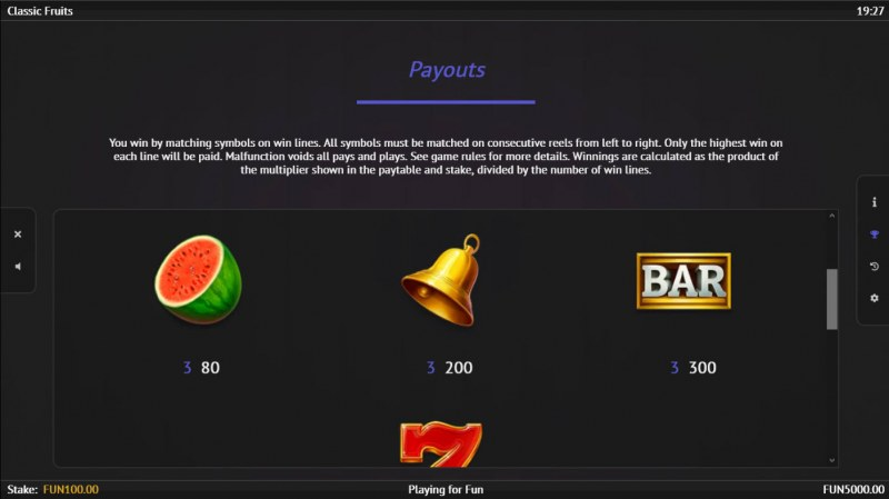 Classic Fruits :: Paytable - High Value Symbols