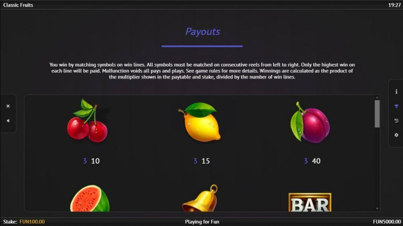 Classic Fruits :: Paytable - Low Value Symbols