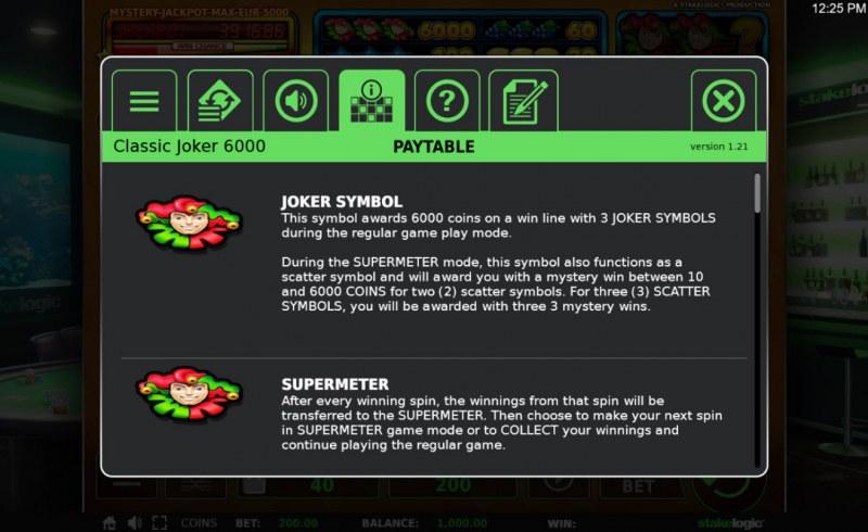 Classic Joker 6000 Quattro :: Feature Rules