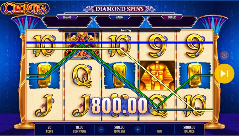 Cleopatra Diamond Spins :: Multiple winning combinations
