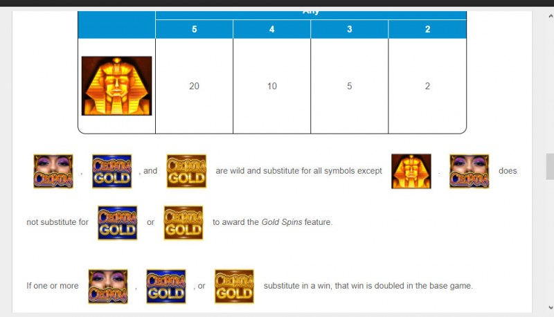 Cleopatra Gold :: Free Spin Feature Rules