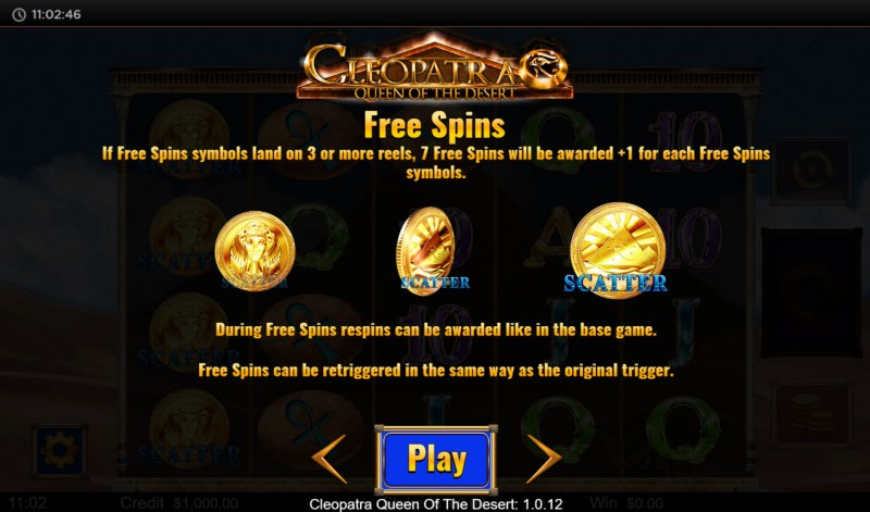Cleopatra Queen of the Desert :: Free Spin Feature Rules