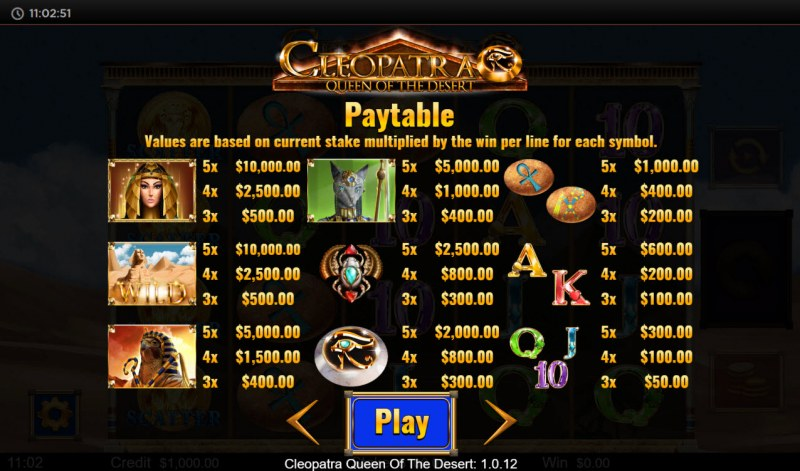 Cleopatra Queen of the Desert :: Paytable