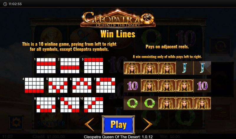 Cleopatra Queen of the Desert :: Win Lines