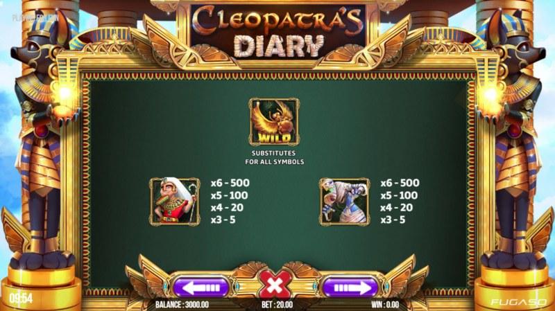 Cleopatra's Diary :: Paytable - High Value Symbols