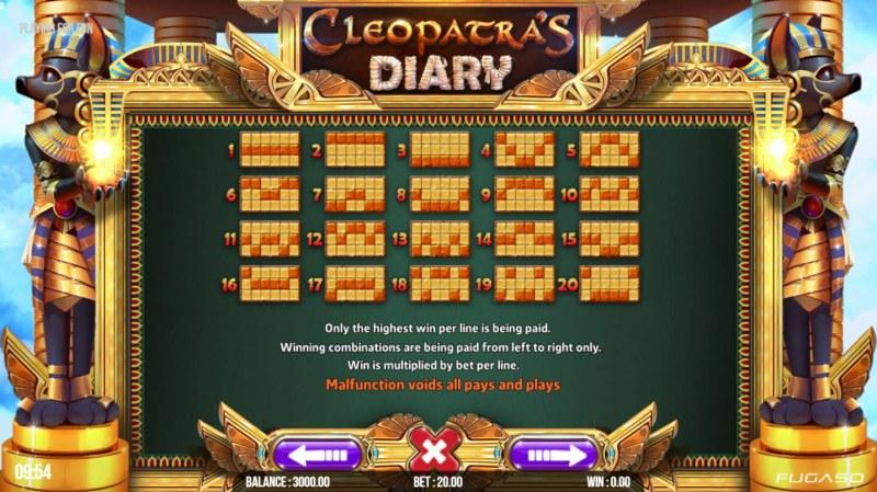 Cleopatra's Diary :: Paylines 1-20