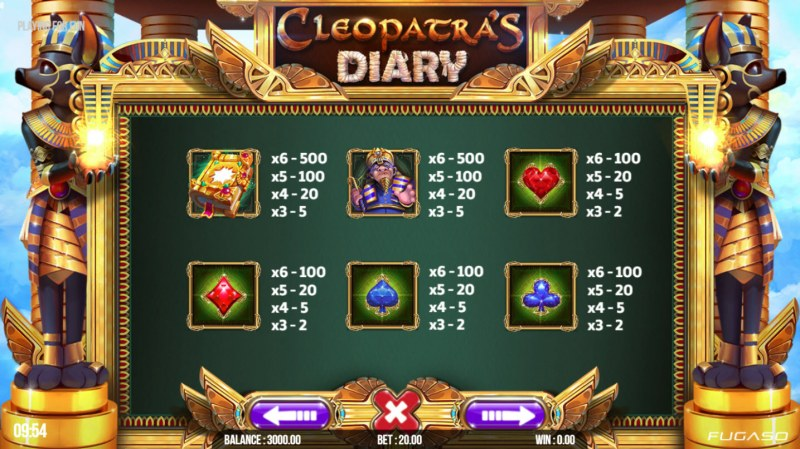 Cleopatra's Diary :: Paytable - Low Value Symbols