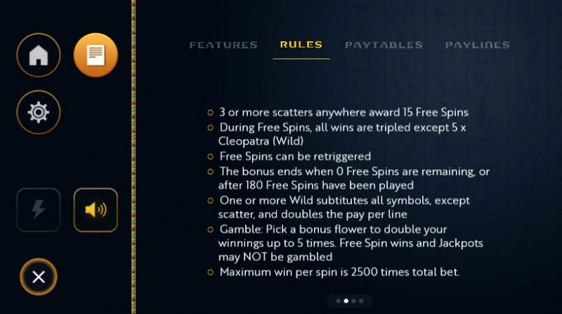 Cleo's Charms :: Free Spins Rules