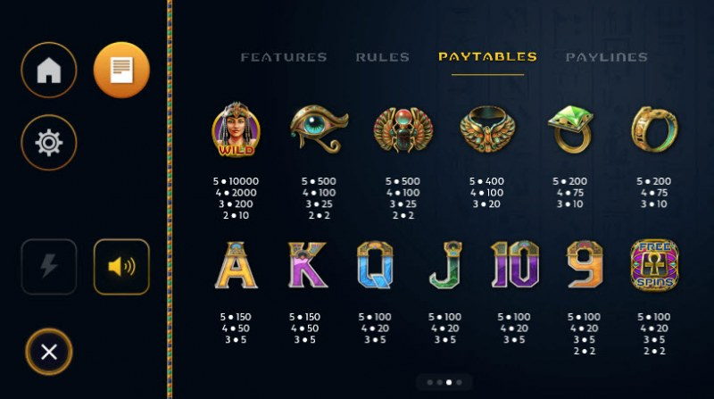 Cleo's Charms :: Paytable